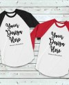 Matching Couples Two Raglans Mockup Black Red Sleeve Double Etsy