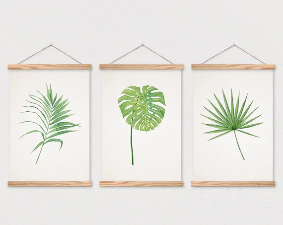 wooden poster hangers poster set of 3 tropical leaf trio on canvas with magnetic wooden poster hanger poster wall hanging poster frame