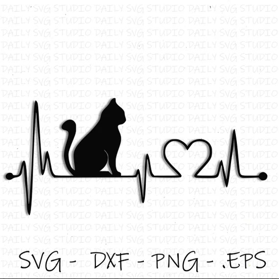 Download Cat SVG Cat Heart Beat SVG Cat Love SVG Digital Cut File ...