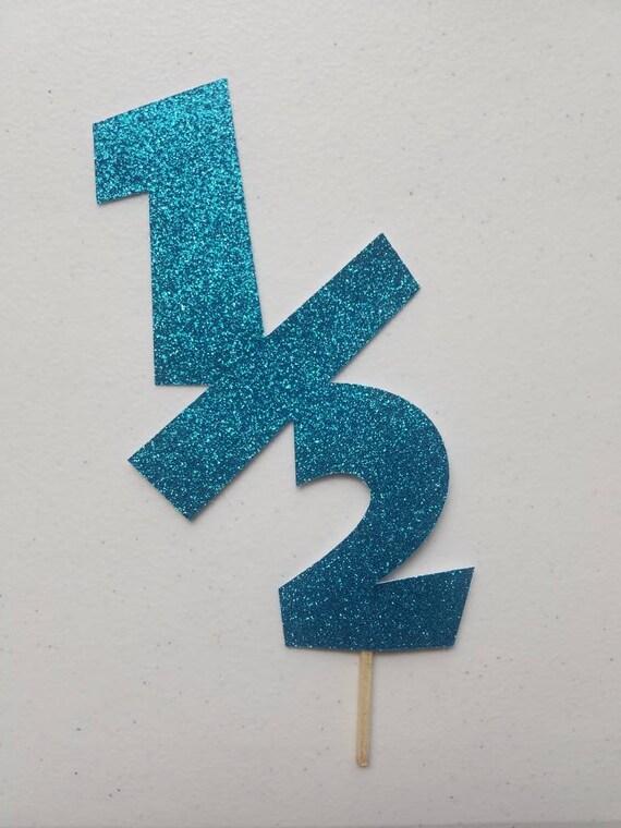 Half Birthday Cake Topper Blue Glitter Cake Topper 1 2 Etsy