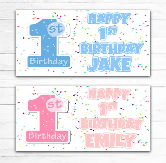 2 Happy 1st Birthday Banners Boy Or Girl First 1st Personalised Baby Pink Blue