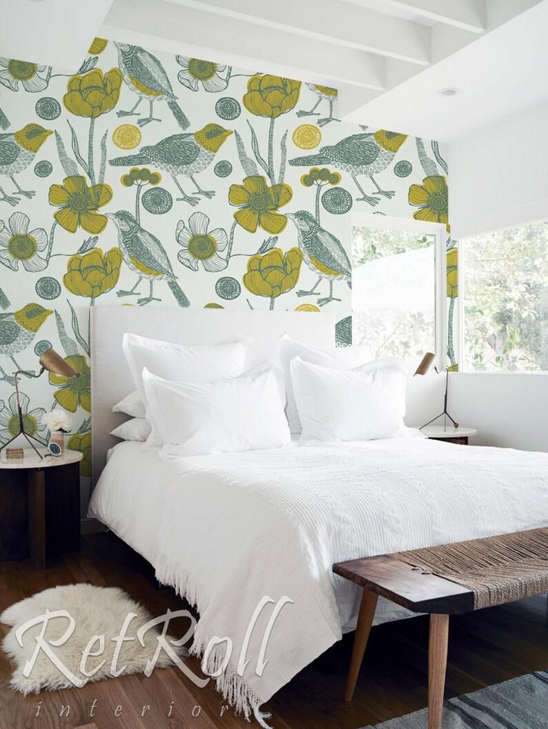 Garden And Birds Removable Wallpaper Floral Wallpaper Etsy