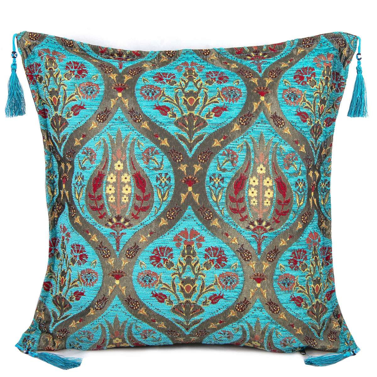 ethnic turkish decorative cushion covers decorative pillow covers 18 x 18 45x45 cm with tassel tulip design no 1 throw pillow cover