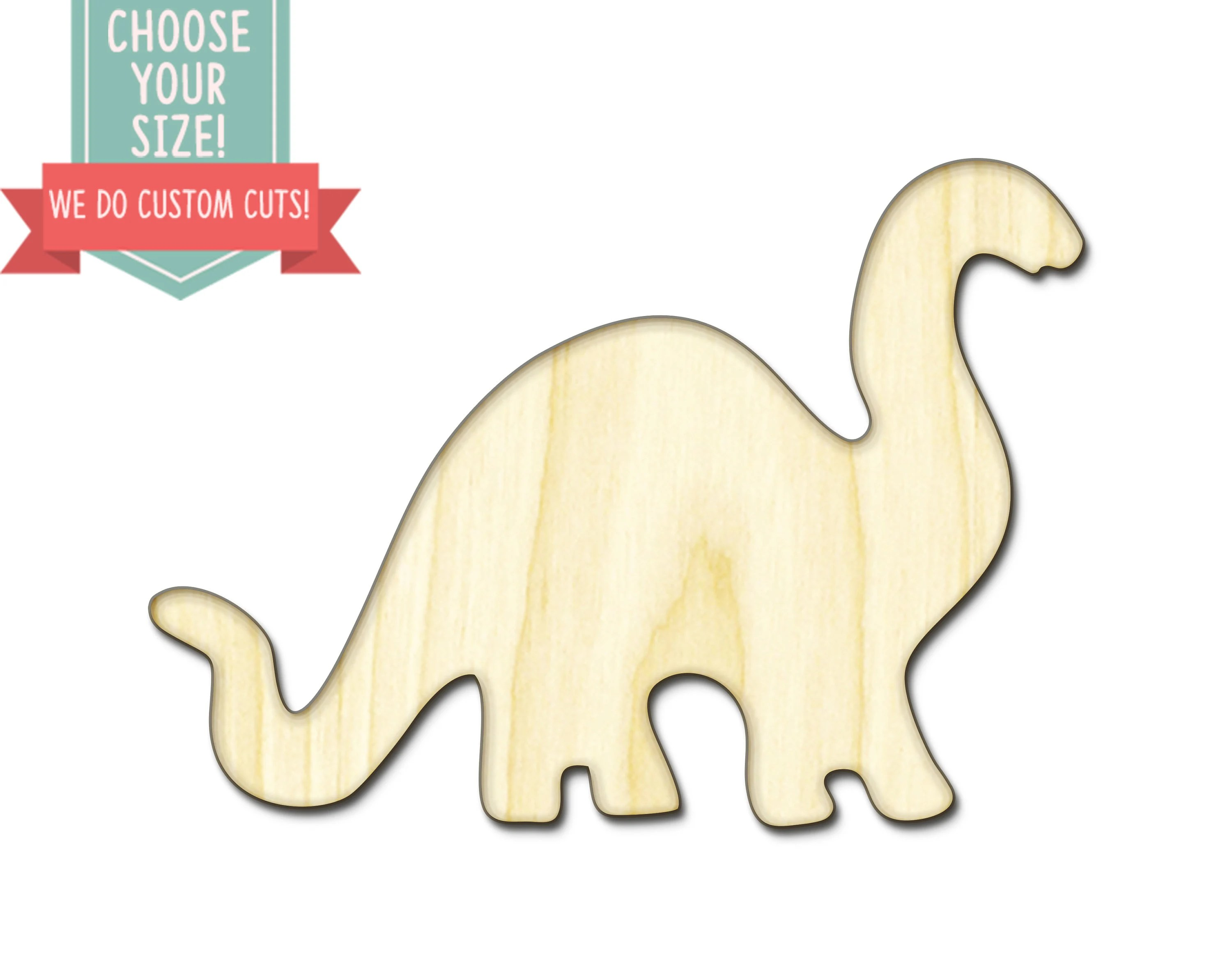 Dinosaur Wood Cut Out Custom Choose Your Size Laser Cut