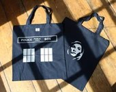 Doctor Who inspired tote bag with individual Doctor illustration