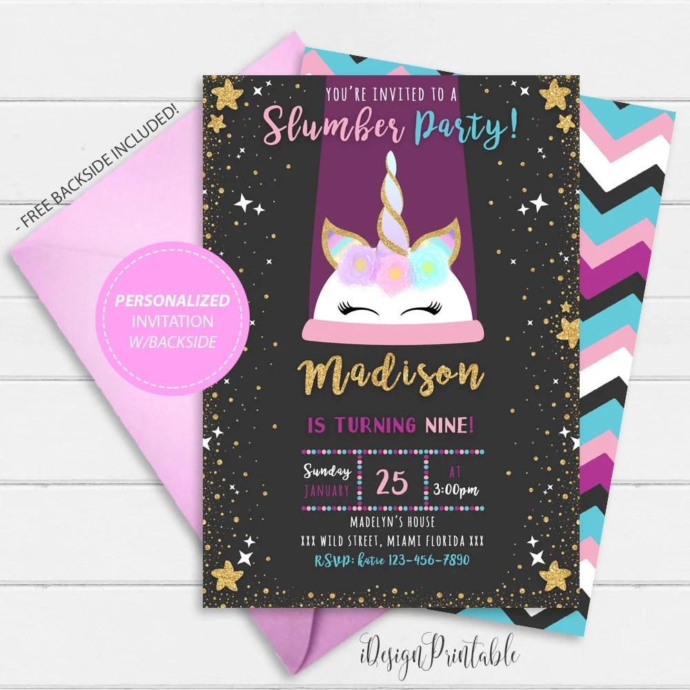 invitation soiree pyjama licorne invitation soiree pyjama licorne licorne soiree pyjama party invite invitation personnalisee licorne numerique