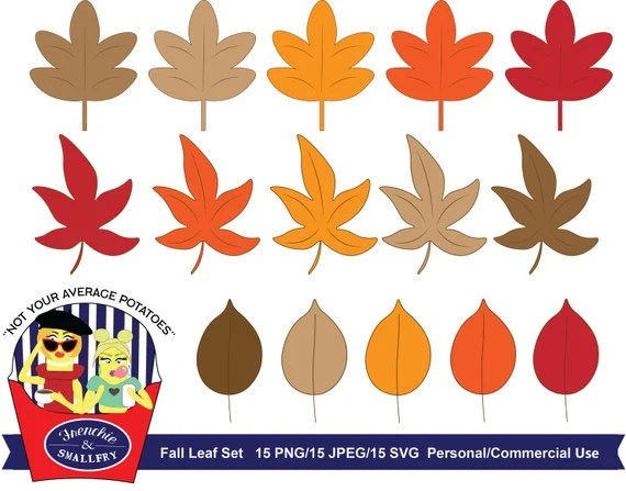 Fall Leaves Clipart Set Clipart Fall Leaf Vector Svg Fall Etsy
