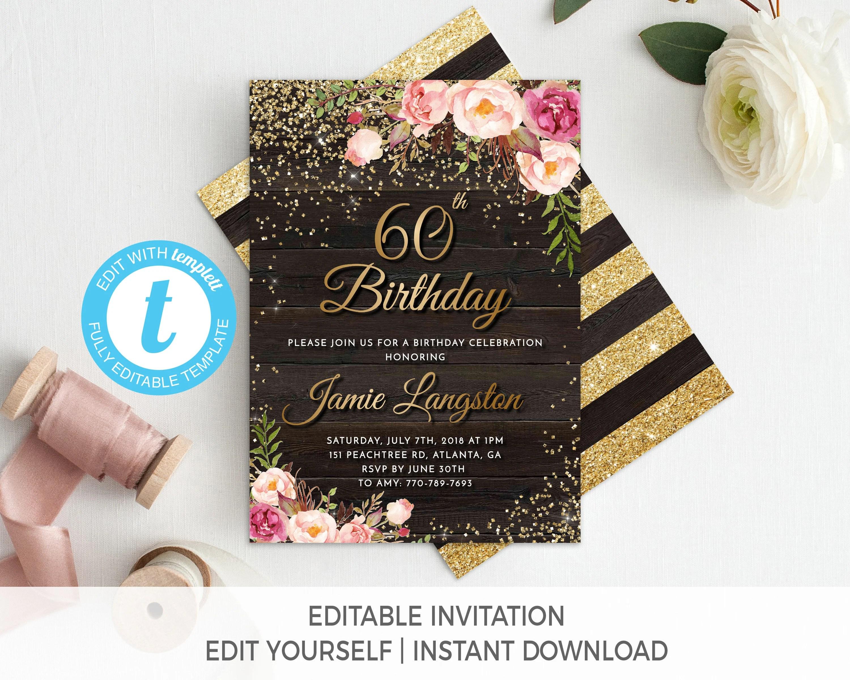 60th birthday invitation female birthday invitation for her floral birthday invitation printable gold birthday invite adult birthday invite
