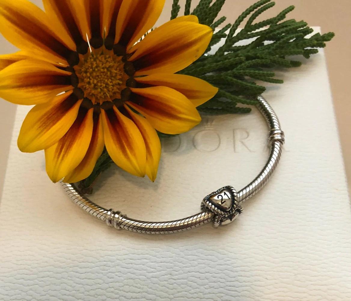 Pandora 21st Birthday Charm Bracelet Bead Sterling Silver Etsy