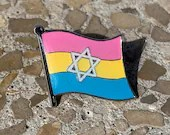 Pansexual Pride & Star of David Jewish + Israel Pin Badge for Lapels, Shirts, Backpacks, Hats, etc...