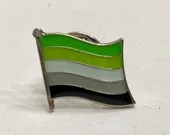 "The ""Mitch McConnell"" Aromantic (LGBTQ) Pride Flag Silver-Back Pin Badge for Lapels, Shirts, Backpacks, Hats, etc..."