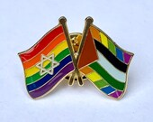 """Israel + Palestine Progress Pride """"Deal of the Century"""" #WeWantToLive Rainbow Combination Pin"""