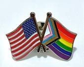 The Biden-Harris #Inauguration Commemorative LGBTQ + POC Progress Pride Double Rainbow and USA/American Flag Pin Badge