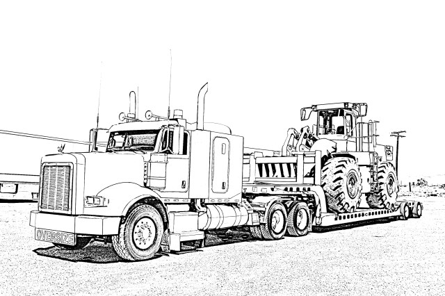 Big Rig truck coloring page poster,