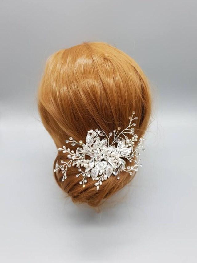 silver bridal hair accessories - wedding hair accessories- bridal hair pieces - wedding hair comb - bridal hair clip - silver hair vine