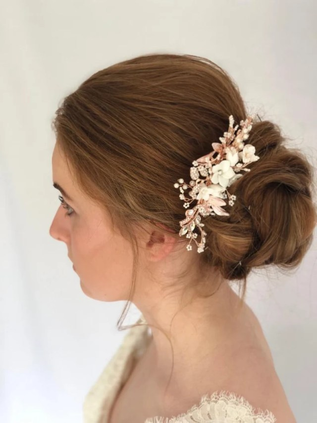 naomi rose gold bridal hair piece-floral hair accessories-wedding hair accessories-hair comb-bridal flower comb- hair vines-wedding hair