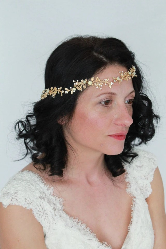 elizabeth gold opal bridal hair accessories-wedding hair bridal headpiece-crystal bridal headpiece-bridal hair vine-gold hair pieces