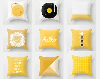 yellow pillow cases etsy