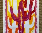 "ORIGINAL STENCIL PAINTING: Violet Saguaro Cactus on Orange and Yellow | Acrylic on 18"" x 24"" Mixed Media Paper"