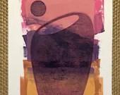 "ORIGINAL MONOPRINT: ""Barrel Cactus"" | 9""x12"" image on 11""x14"" paper | Acrylic Paint on Bristol Board"