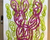 "ORIGINAL One-line Drawing: Magenta Drip Prickly Pear Cactus on Green | Fluid Acrylic on 18"" x 24"" Mixed Media Paper"