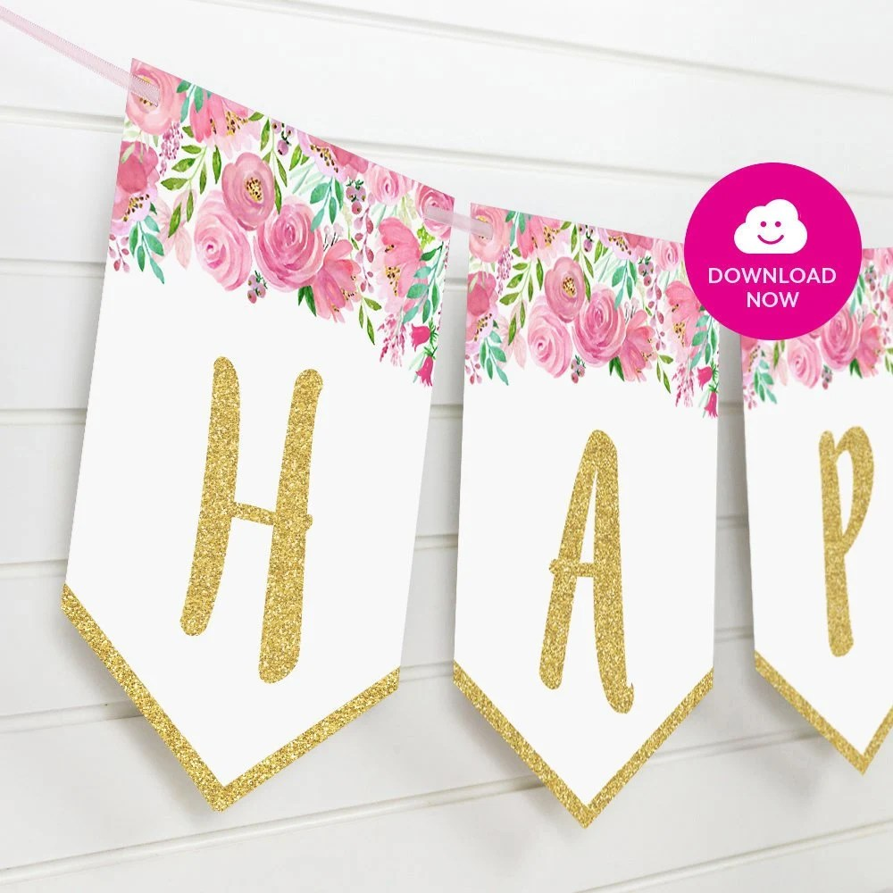 Pink Floral Happy Birthday Banner With Golden Details Etsy