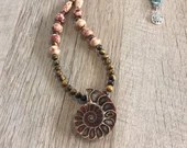 Fossil Gemstone Necklace | Handmade | Crustacean | Ammonite | Natural | Tiger Eye | Wood | Seed | Boho Hippie Gypsy | Multicolored | Brown