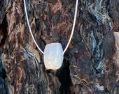 "Square Omega Rainbow Moonstone Necklace | 18"" 1mm 925 Silver Chain 