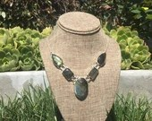 Sterling Silver Oval Labradorite Necklace | Handmade | Natural Gemstone | Gifts for Her | Boho Hippie Gypsy |  Blue Green | Dainty | Simple
