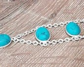 Sterling Silver & Turquoise Bracelet | Handmade | Gifts for Her | Gemstone | Boho Gypsy | Birthday | Anniversary | Blue | Western