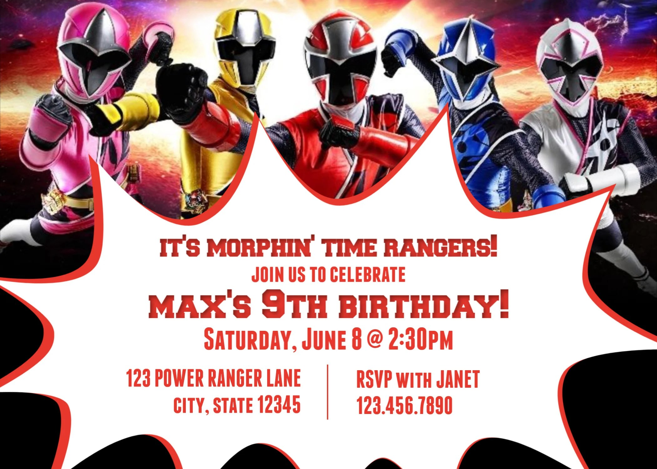 power rangers ninja steel birthday party invitations for all ages