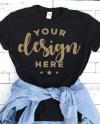 Black Tshirt Mockup With Blue Denim Shirt On Distressed Wood Etsy