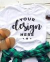 Bella Canvas 3001 Tshirt Mockup Flat Lay Template With Plaid Etsy