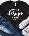 Bella Canvas 3001 Mockup Black Tee Mock T Shirt With Shoes And Etsy