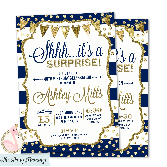 Surprise Birthday Invitation Surprise Party Invitations Navy Etsy