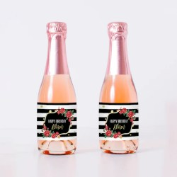 Stripes And Roses Birthday Mini Champagne Bottle Labels Etsy