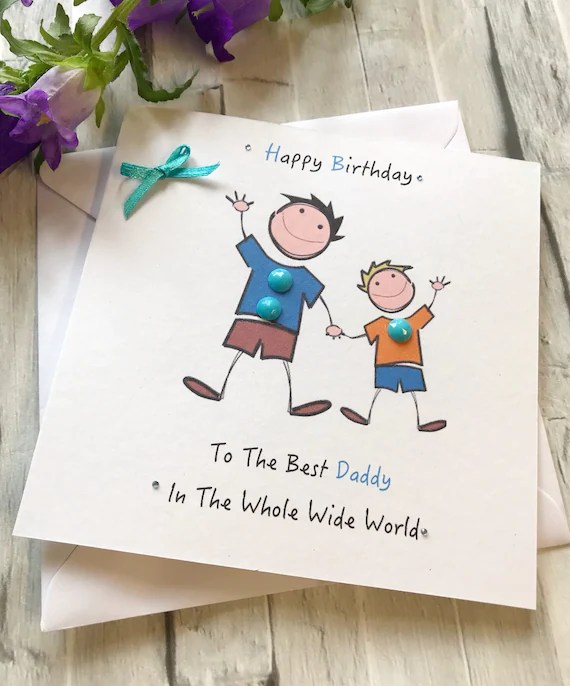 Daddy Happy Birthday Card Childs Personalised Card Handmade Etsy