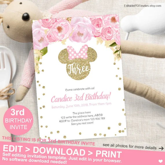 Minnie Mouse 3rd Birthday Pink And Gold Flower Invitation Etsy