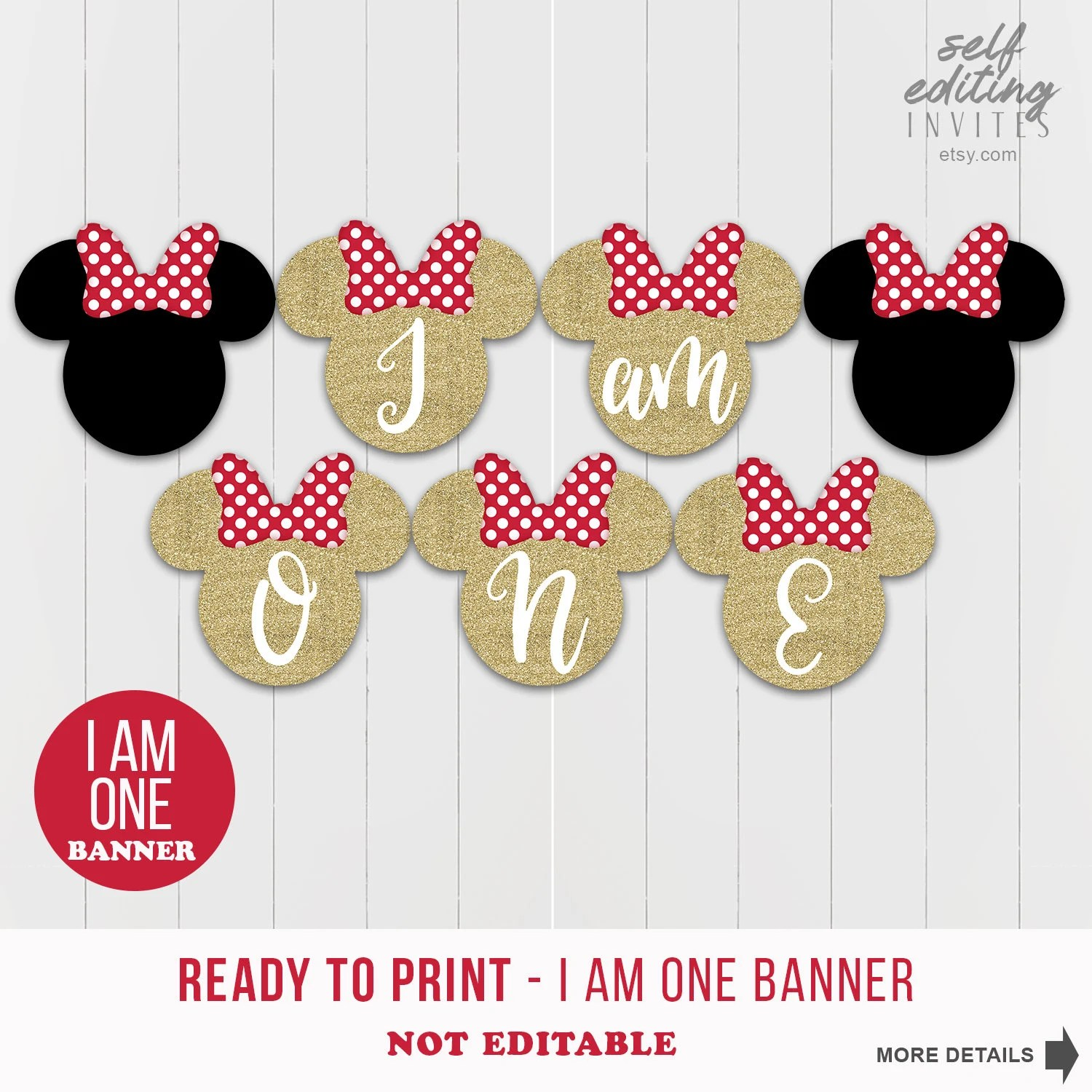 minnie mouse i am one gold glitter