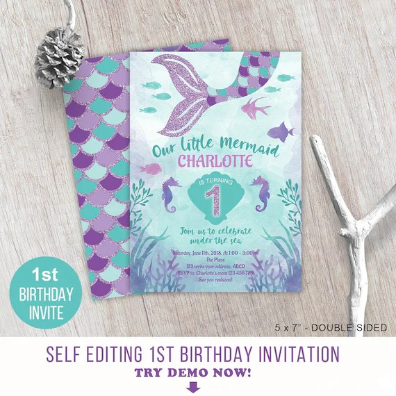 Little Mermaid Under The Sea Girl 1st Birthday Invitation Etsy