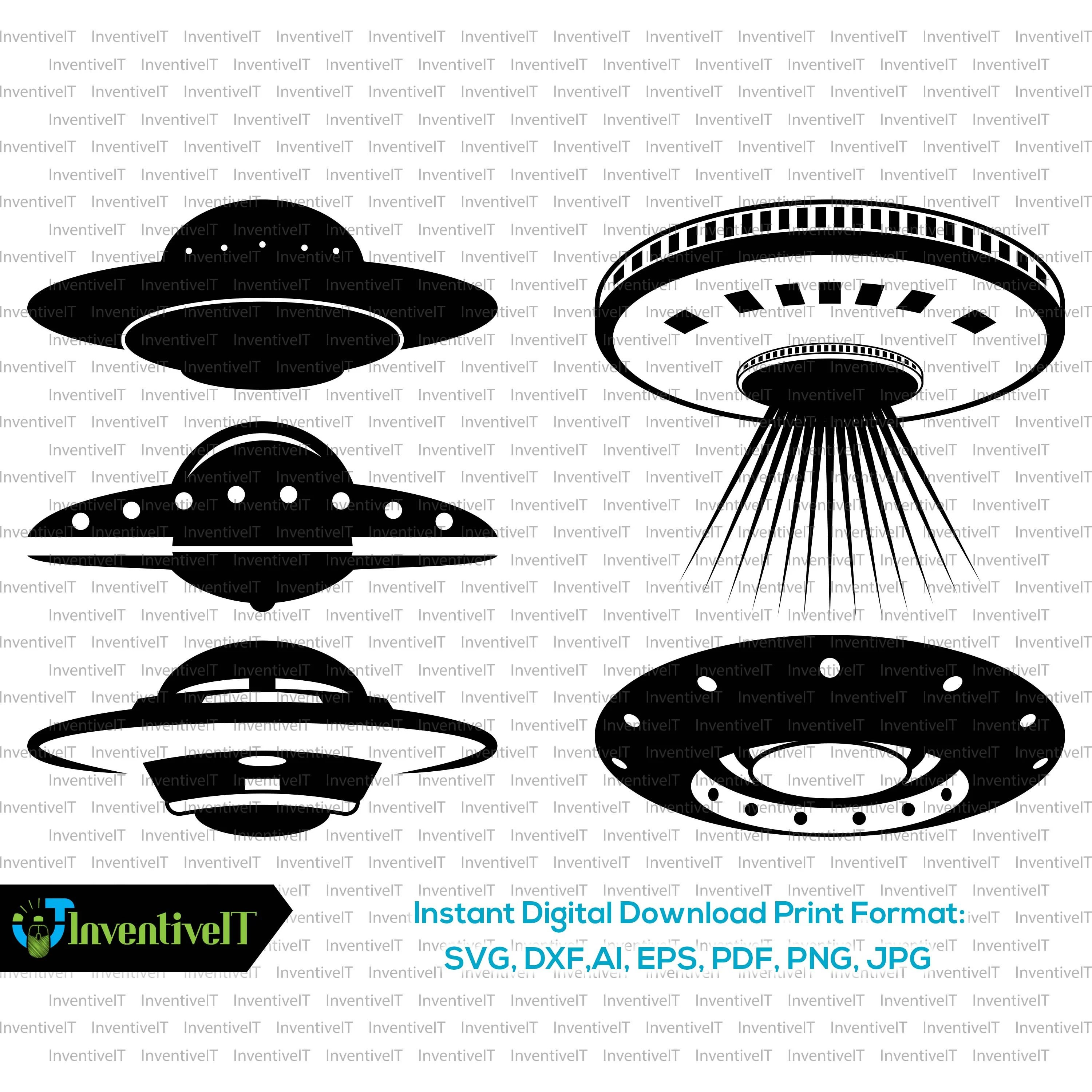 Ufo Svg Ufo Silhouette Ufo Vector Clip Art Svg Files