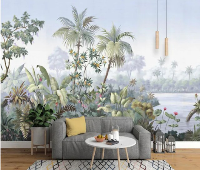 Retro Reminiscent Tropical Rainforest Wallpaper Wall Mural Jungle Frorest Trees Scenic Wall Muralliving Room Bedroom Wallpaper Wall Murals