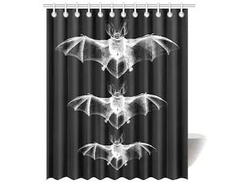 bat shower curtain etsy