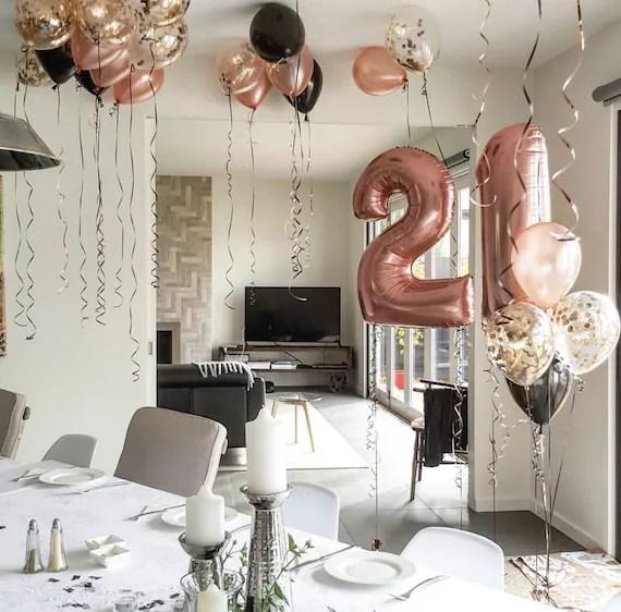 Rose Gold 21st Birthday Decor Set Jumbo 21 Big Number 21st Etsy