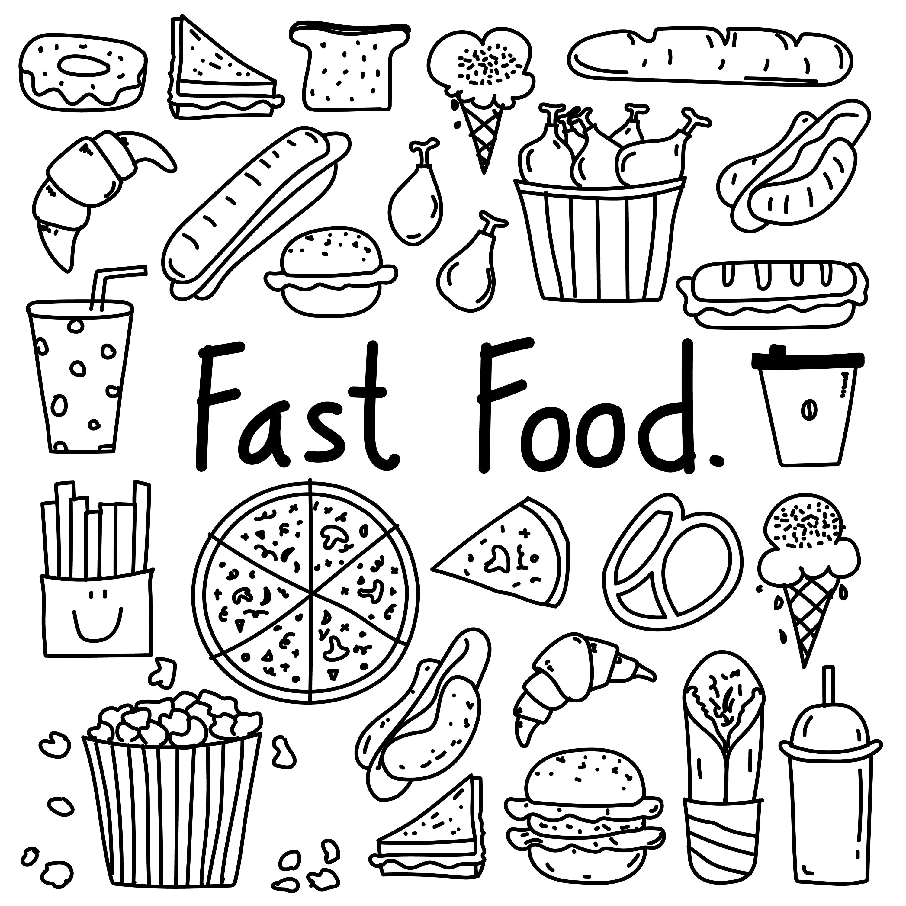 Hand Drawn Doodle Fast Food Clipart Fast Food Clipart