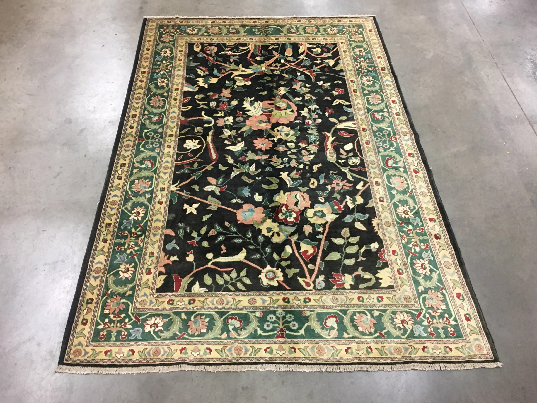 7x10 Peshawar Mahal Area Rug Black Hand Knotted Wool Carpet Etsy