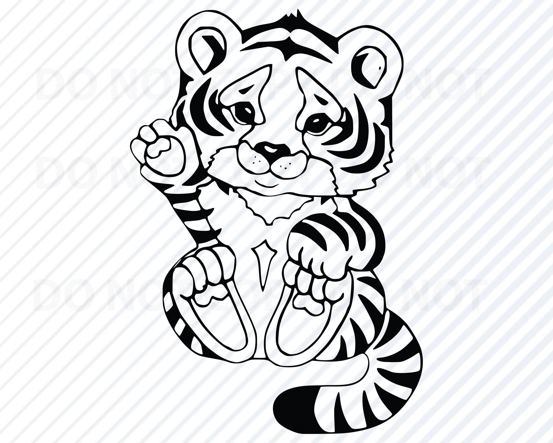 Baby Tiger 3 Svg Black Amp White Transfer Vector Images