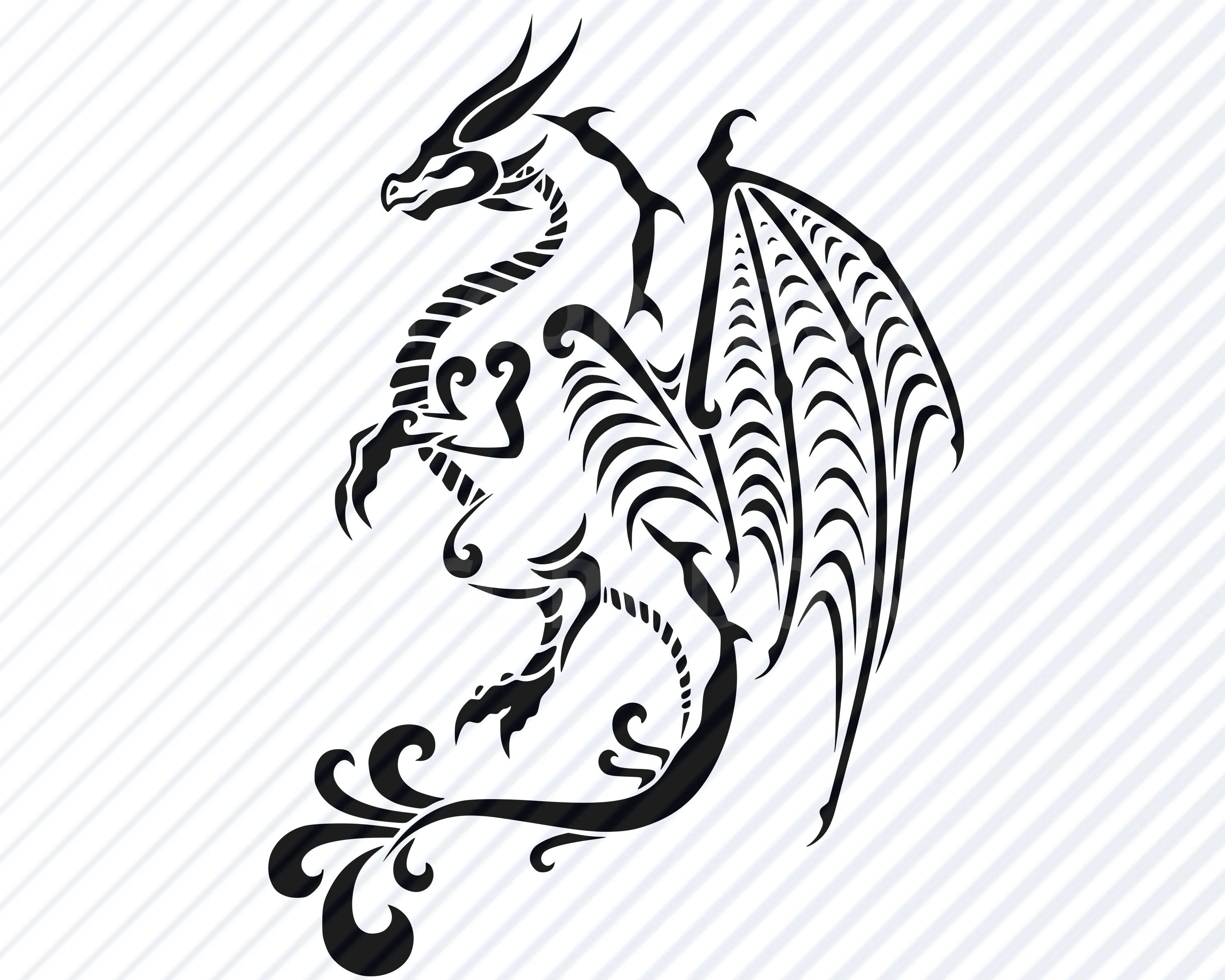 Dragon 4 Fantasy Svg Files Silhouette Vector Images