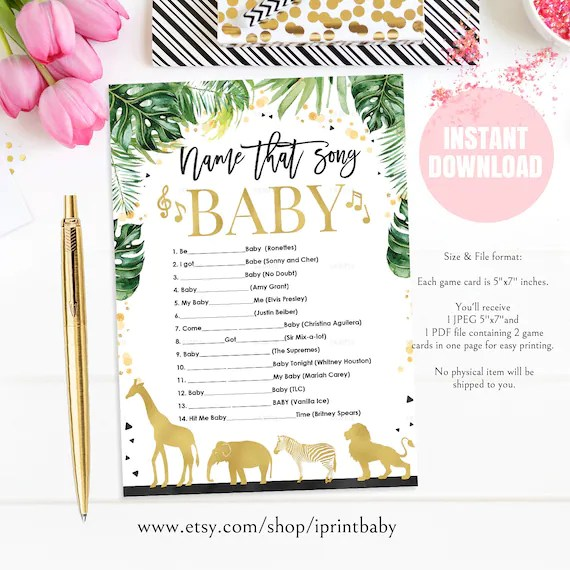 Jungle Gold Name That Song Baby Shower Games Safari Gold Baby Etsy