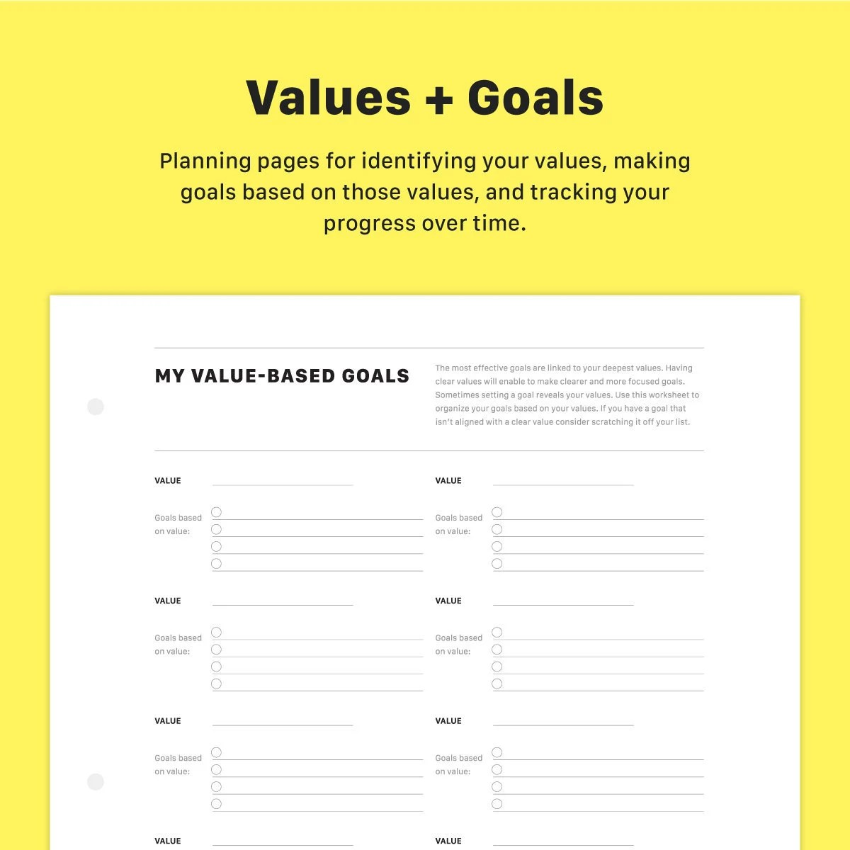 Value Based Goal Setting Worksheet And Tracking Chart